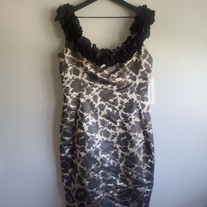 NWT Maggy London Champagne Ruffle Cocktail Dress